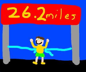 Proud man finishing a marathon