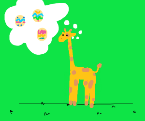 Giraffe thinking about Easter eggs