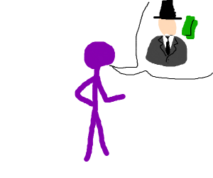 Purple man talking abt a rich dude
