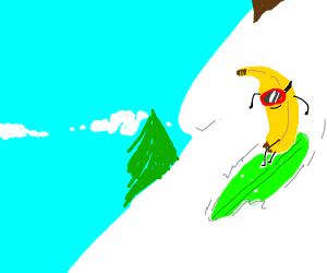 Banana Surfing Down a Mountain