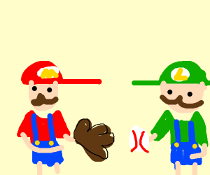 Mario and Luigi throw ball to each other.