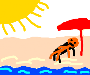 A sungrilled person on the beach