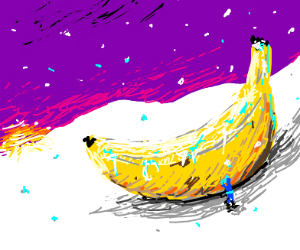big banana in snow