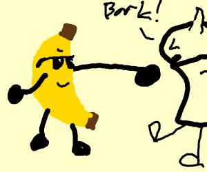 Dapper Banana fights bork monster