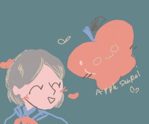 School girl in love with apple-senpai
