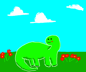 Dinosuar standing next to flowers