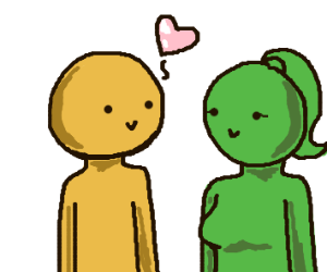 Yellow man loves green woman