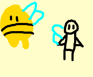 giant bee in front of a human bee