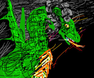 A green monster with horns breathing fire G