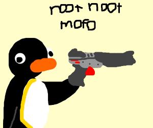 pengun with gun