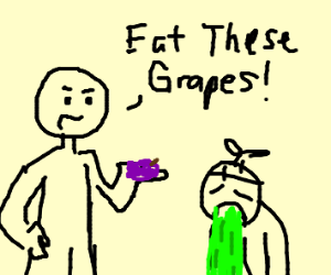 man orders puking chlid to eat grapes.