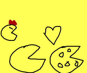 Pacman falls in love with a cheese wheel