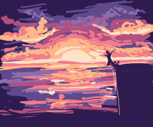 sunset scene with cliff jumpers