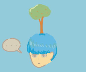Person with plant growing on their head :(