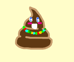 poop with bead necklace