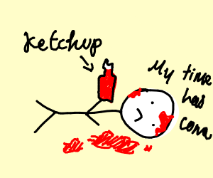 fake murder scene e.g ketchup blood