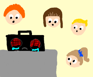 sad black boombox with fly eyes gets stared a