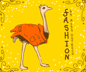 an ostrich wearing a coat