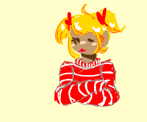 girl with pigtails, red/white striped clothes