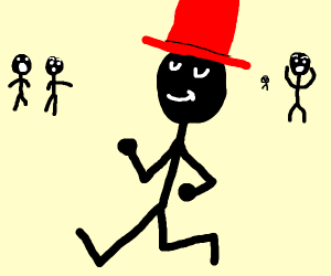 stick man with red top hat