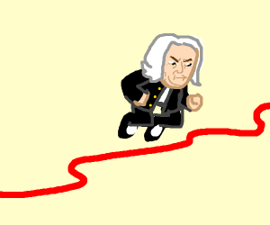 Bach jumping over a red cord