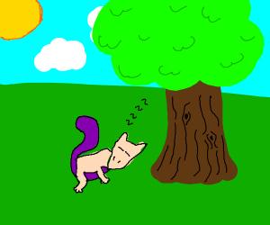 Mewtwo sleeping under a tree