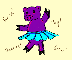 Purple pig dancing