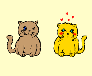 brown cat and blushing yellow cat