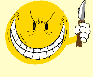 a very smiley thing holding a knife