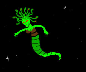 Medusa floating in space