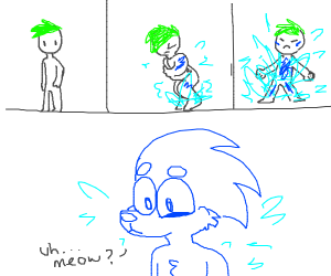 Green-haired man becomes Sonic