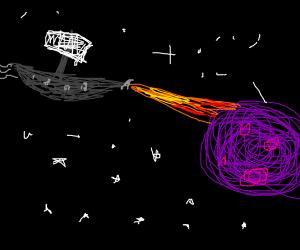 Space pirates attack purple planet