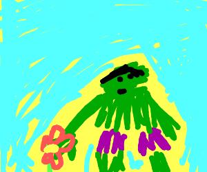 Hulk picks flowers