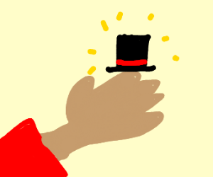 Hand wearing a Top Hat