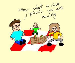 family  having a pickcic