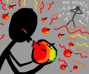 stickfigure and apple making apple noises