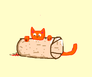 A Cat Eating A Burrito Drawception