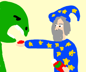 Wizard feeds turtle with ketchup