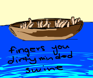 Boat with fingers coming out of the top