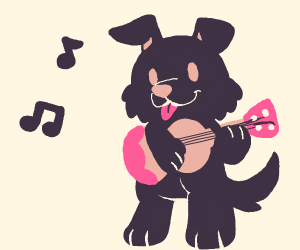 Cute dog playing ukulele