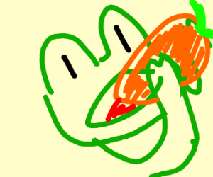 A frog eating a carrot?
