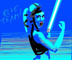 "Blue-skinned lady saying ""team blue!"""