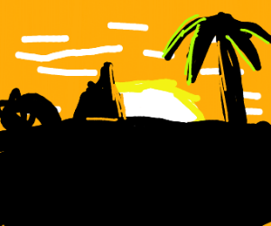 Triceratops in front of a sunset
