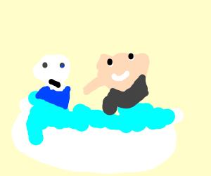 sans taking a bath with gru