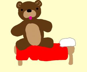 giant teddy bear on bed