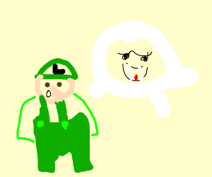 green mario dude sees a ghost IDK