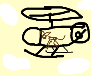 Doggy on a helicopter