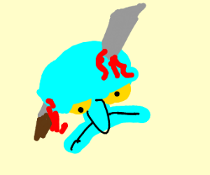 Squidward is bleeding