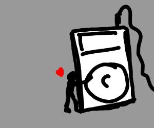 Guy hugging a huge MP3 player