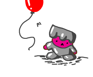 Kirby in suit of armor, lost his red balloon